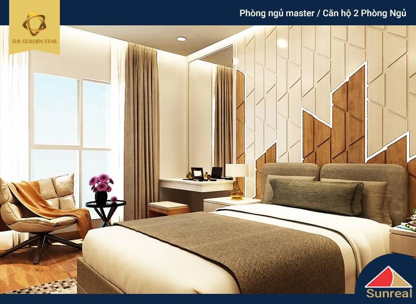 Phòng ngủ Master tại căn hộ The Golden Star